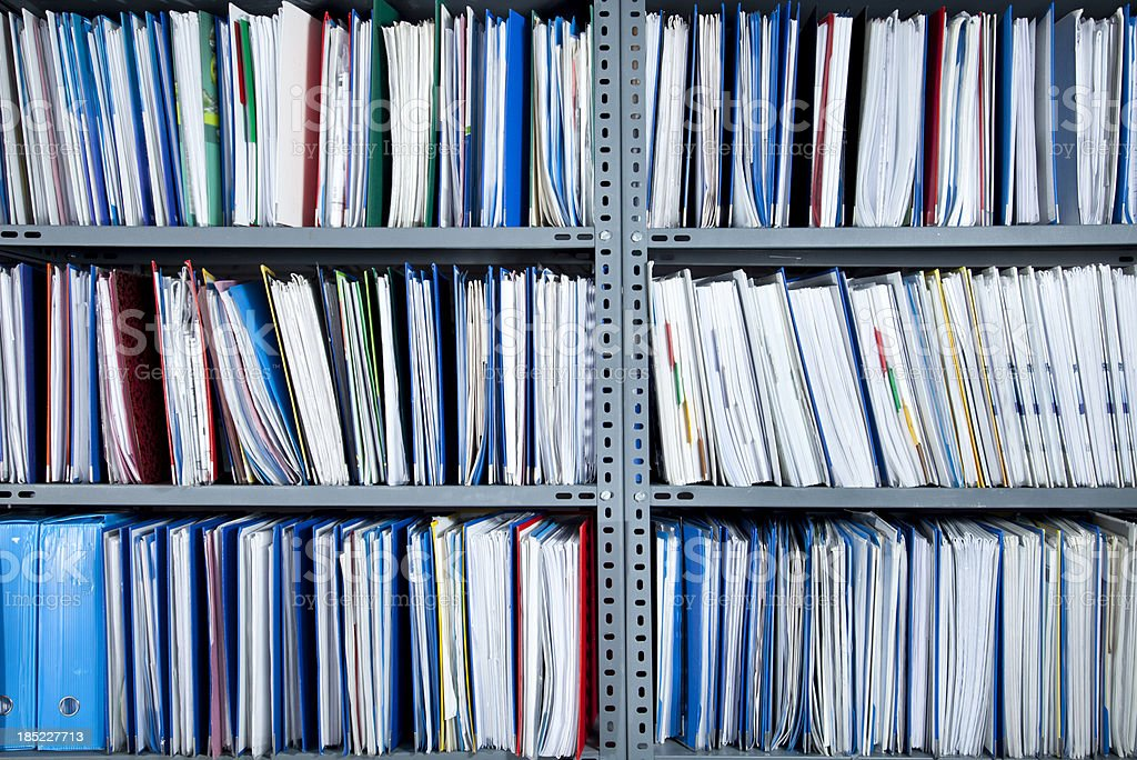 Files on Shelf stock photo