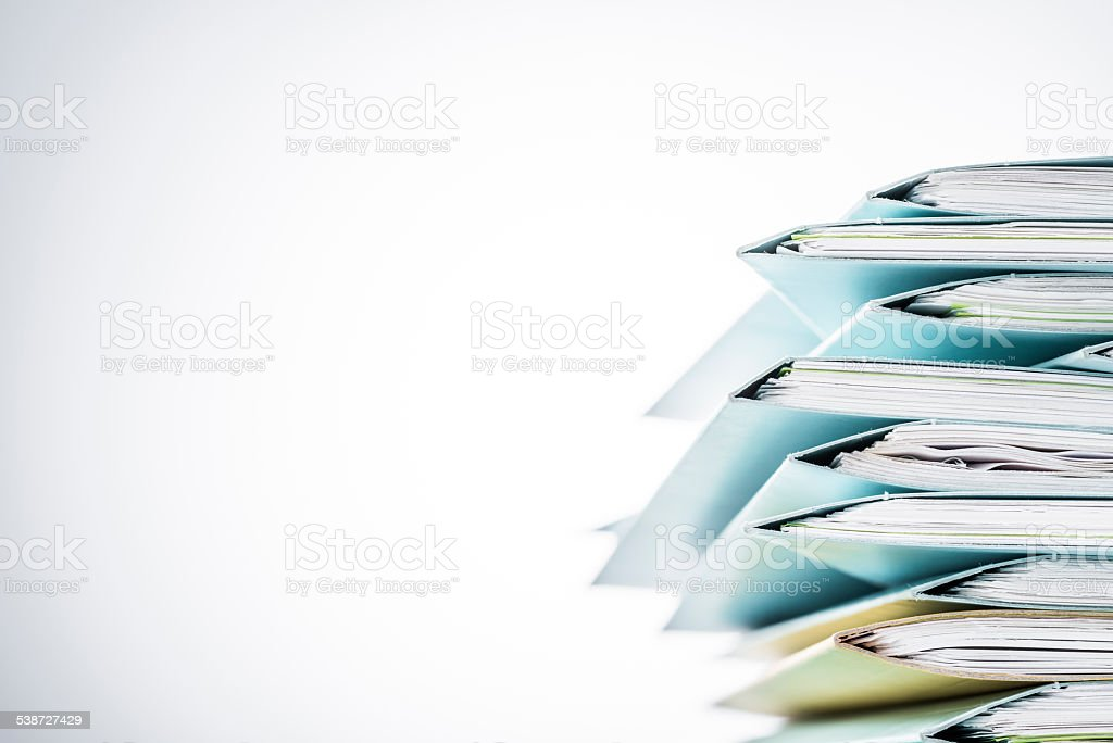 Files. Newspaper with a coffee cup on blank desk stock photo