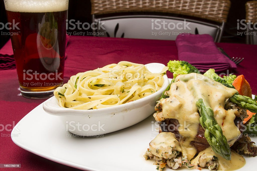 Filet Mignon and Beer royalty-free stock photo