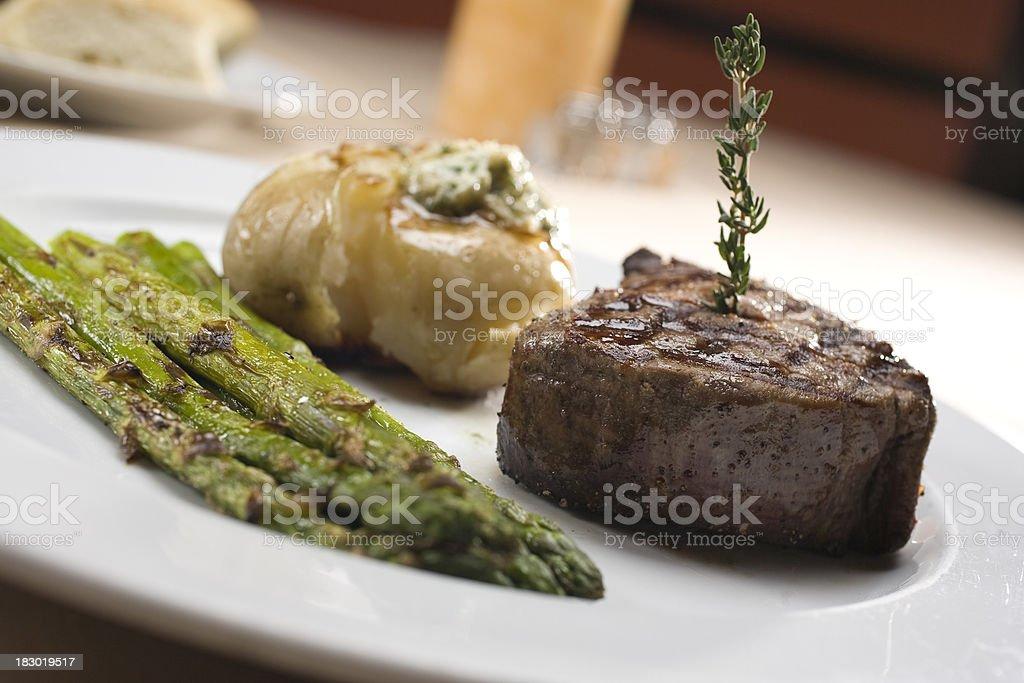Filet Mignon steak with Smashed Potatoes stock photo