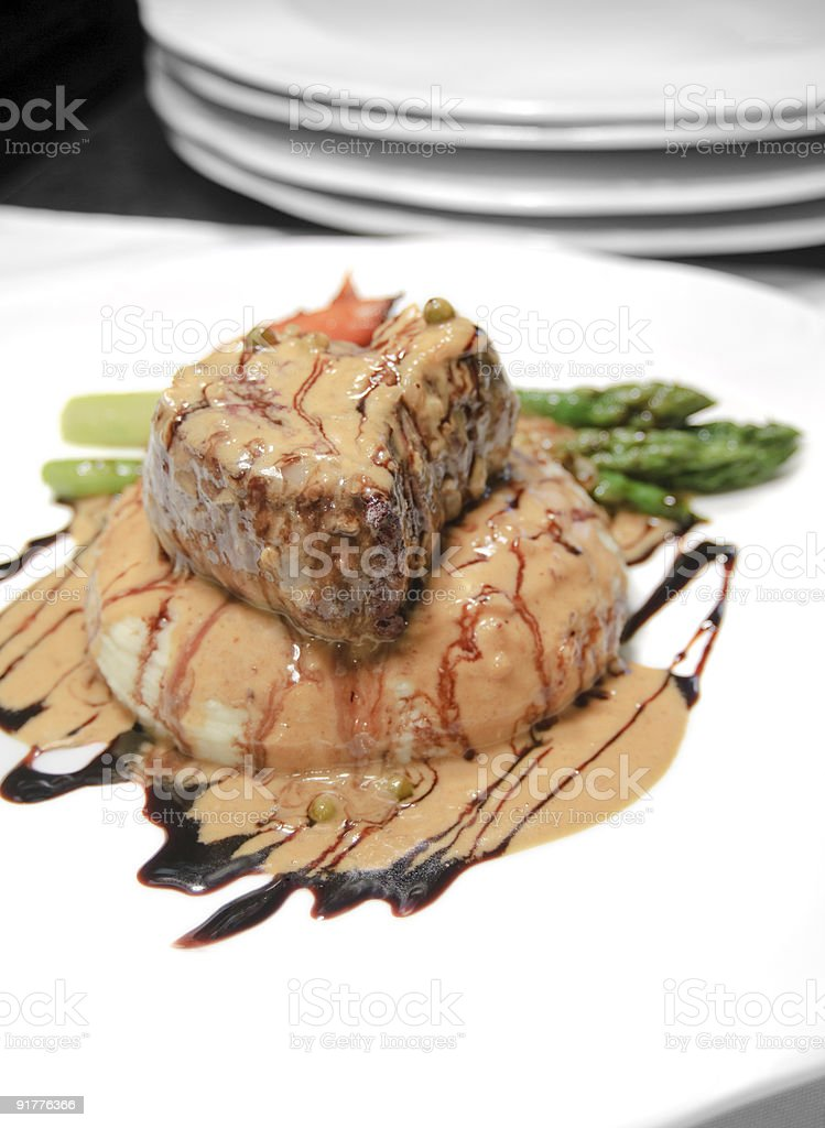 Filet Mignon w/ Peppercorn Cream Demi royalty-free stock photo