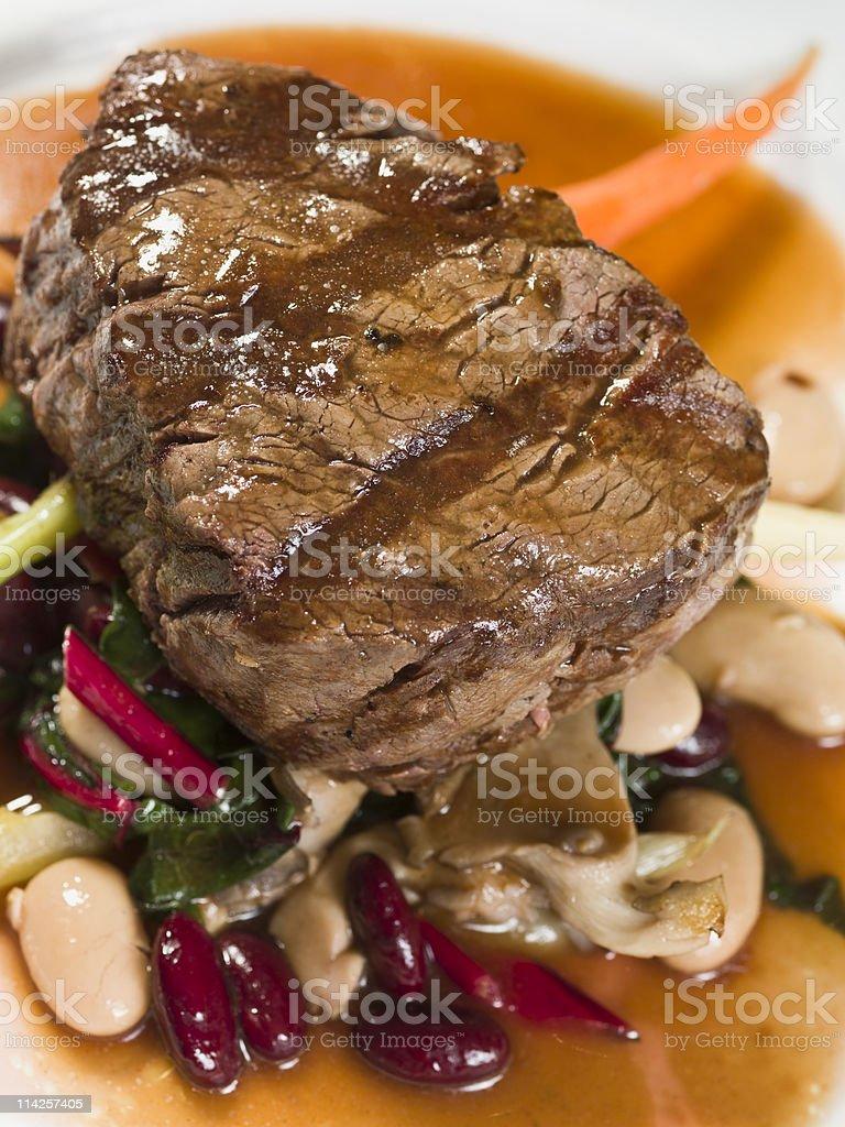 Filet Mignon with Beans royalty-free stock photo