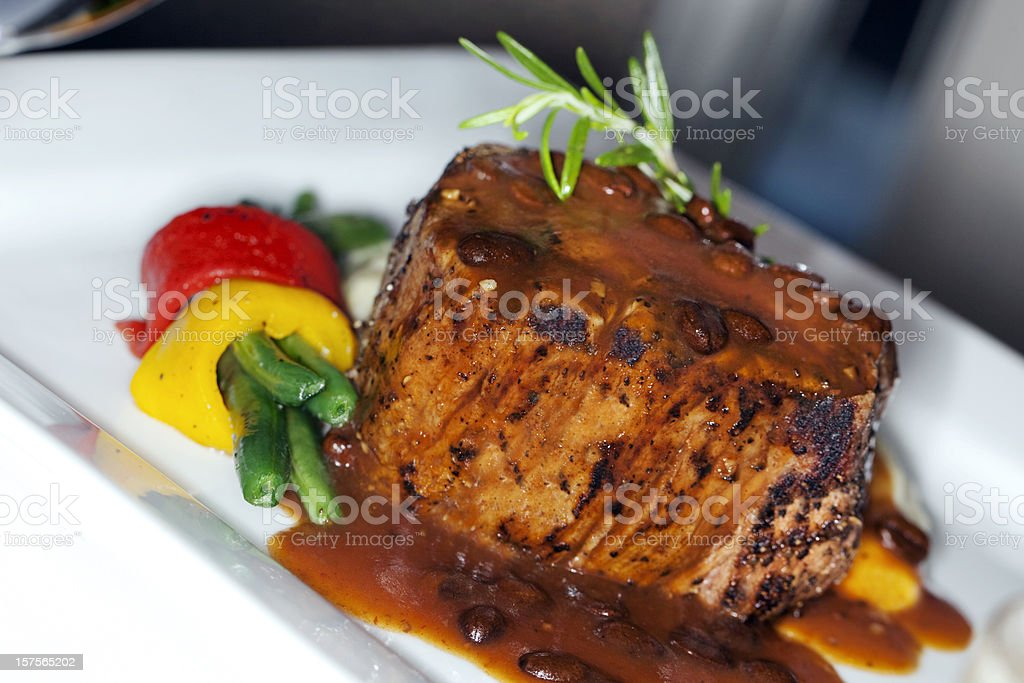 Filet Mignon with Gravy and Vegetables royalty-free stock photo