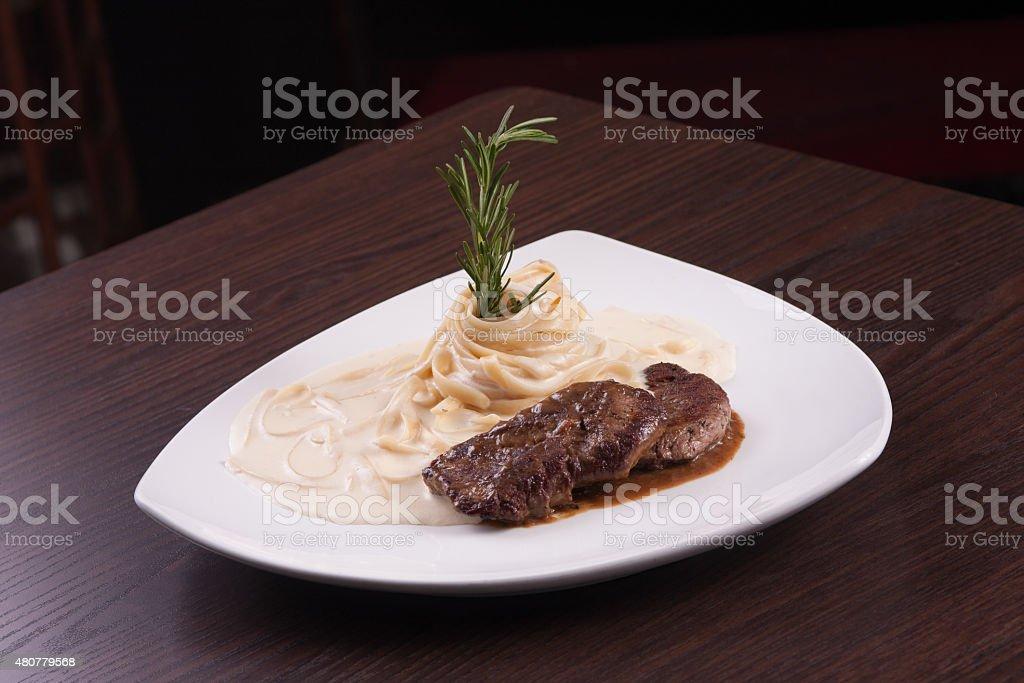 Filet mignon with massa stock photo
