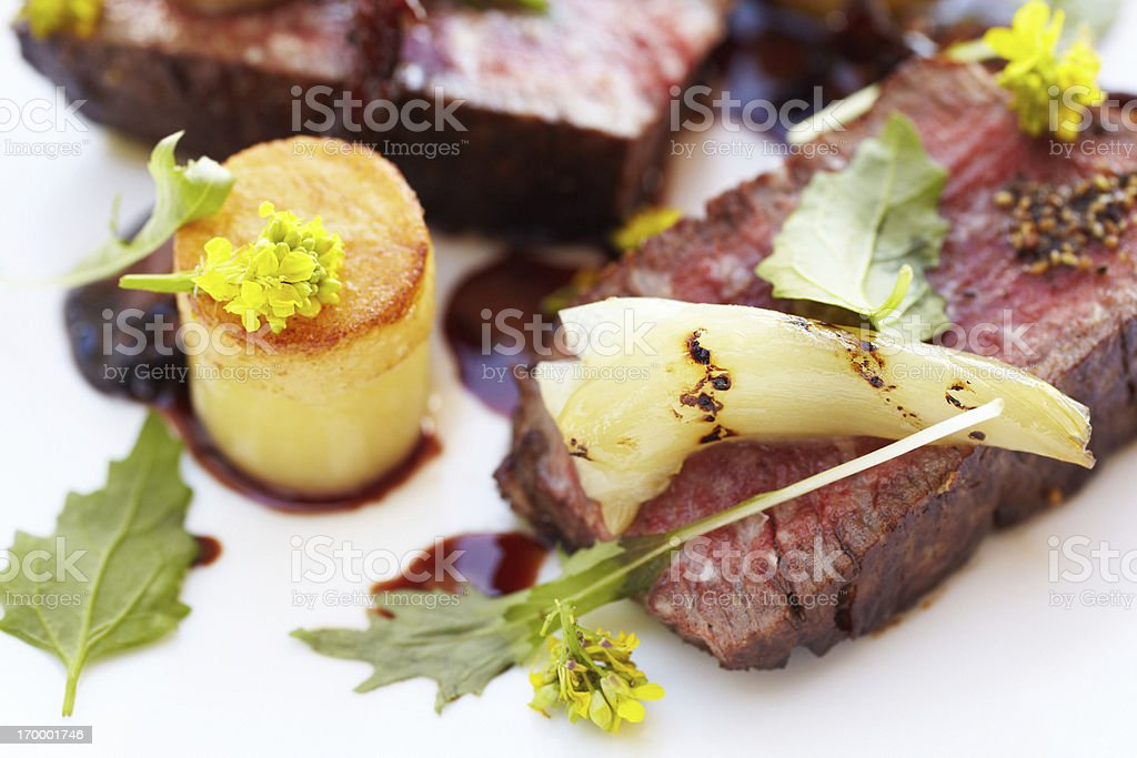 Filet mignon with potato fondant in port reduction royalty-free stock photo