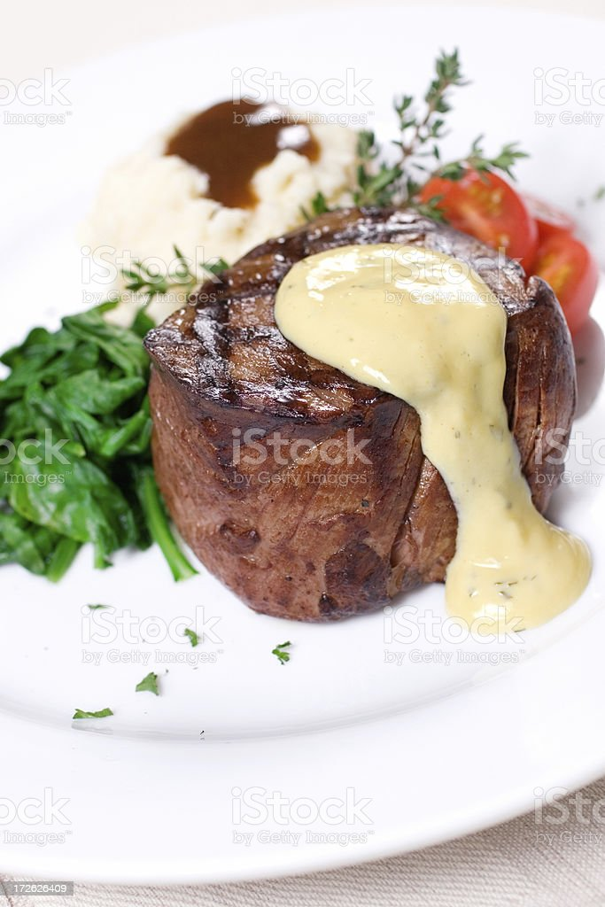 Filet Mignon with Sauce Bearnaise stock photo