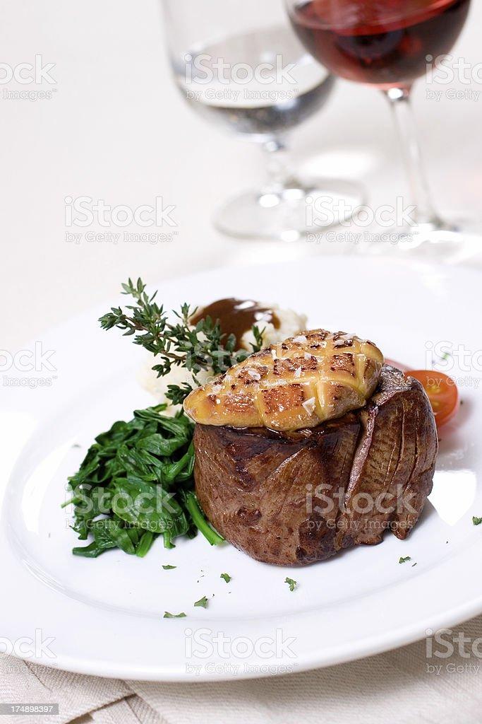 Filet Mignon with Seared Foie Gras royalty-free stock photo
