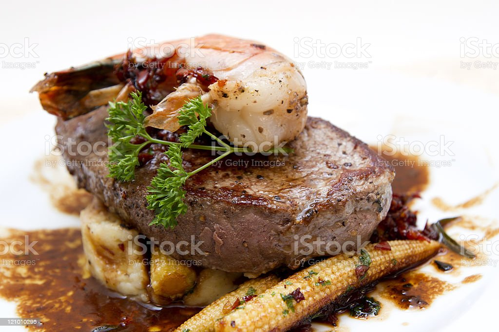 Filet of charolais beef with prawns royalty-free stock photo