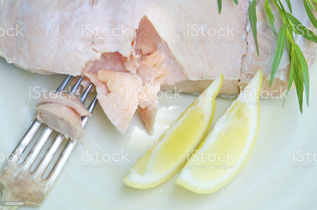 Filet of Poached Wild Salmon from Above royalty-free stock photo