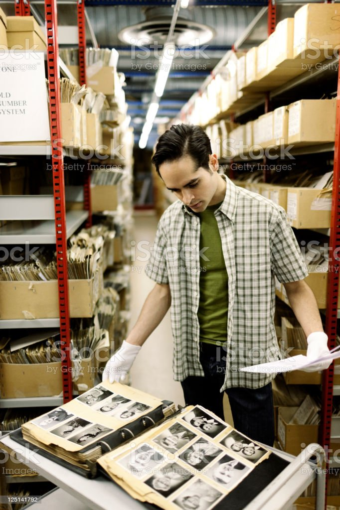 Filing archived portaits. stock photo