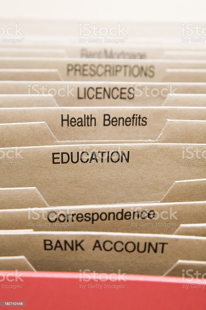 filing cabinet focused on education royalty-free stock photo