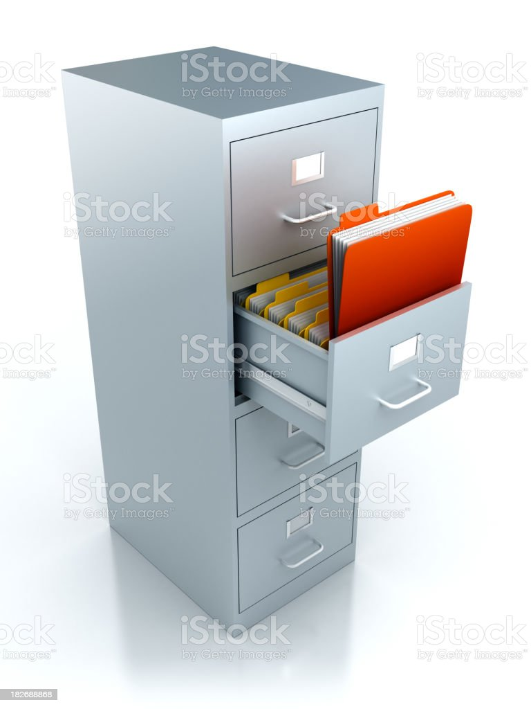 Filing cabinet with folders in drawer - isolated/clipping path royalty-free stock photo