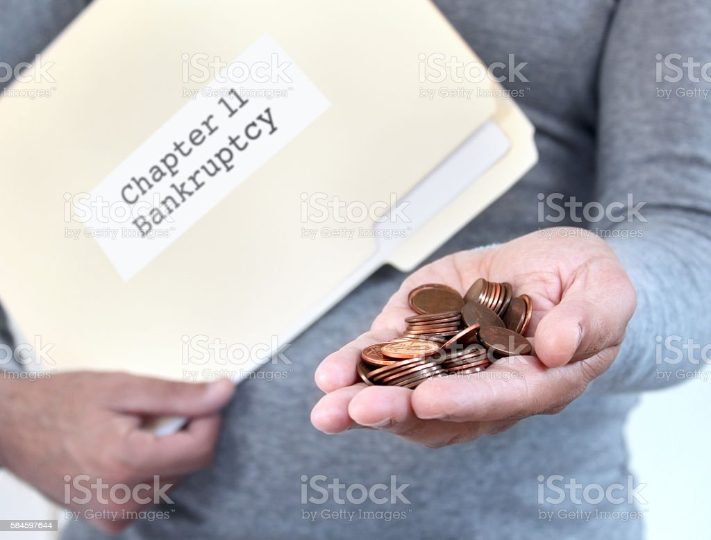 Filing for chapter 11 bankrutcy stock photo