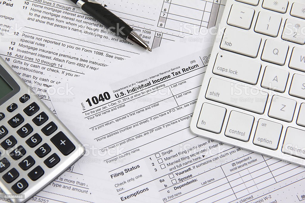 Filing online taxes before deadline stock photo