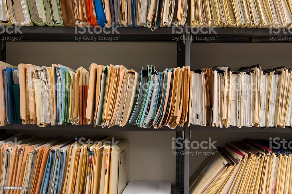 Filing records stock photo