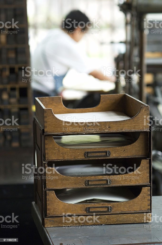 Filing Shelves in old Letterpress Printing Shop royalty-free stock photo