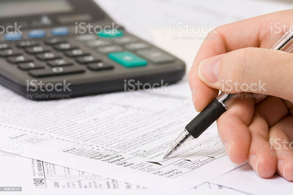 Filing taxes stock photo