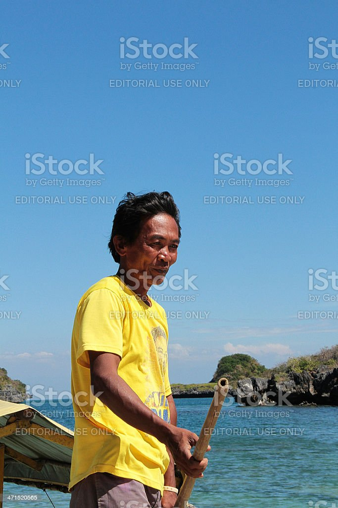 Filippino barca uomo foto stock royalty-free