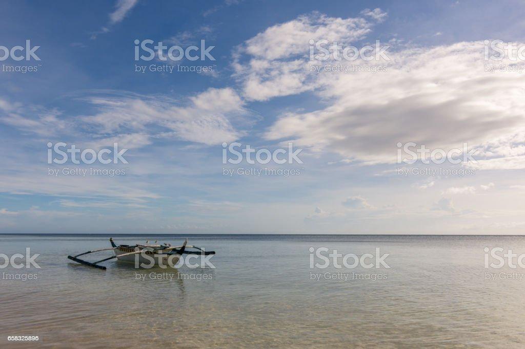 A Filipino fisherman's basic pump boat stock photo