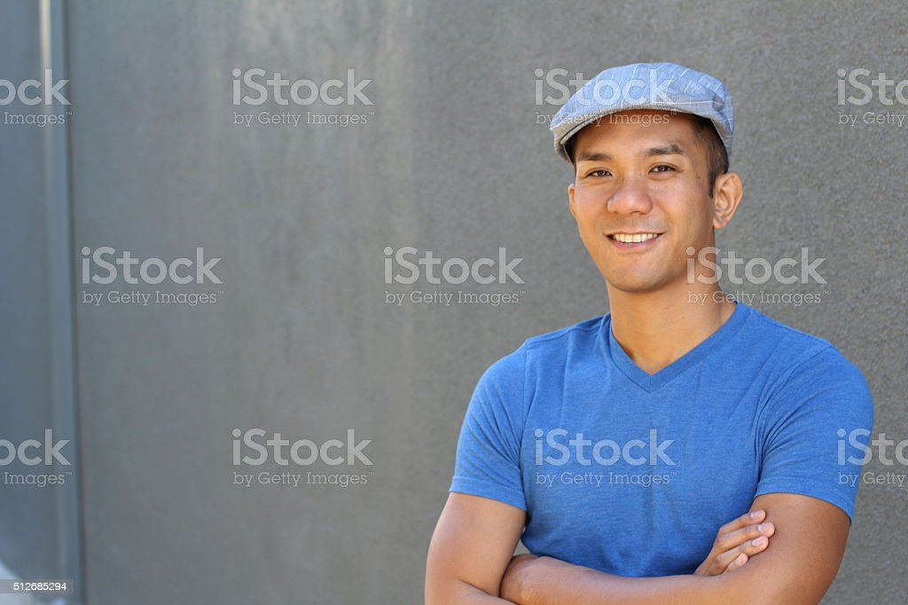 Filipino male with copy space on the left stock photo