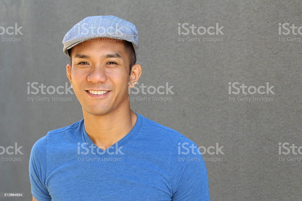 Filipino male with copy space on the right stock photo