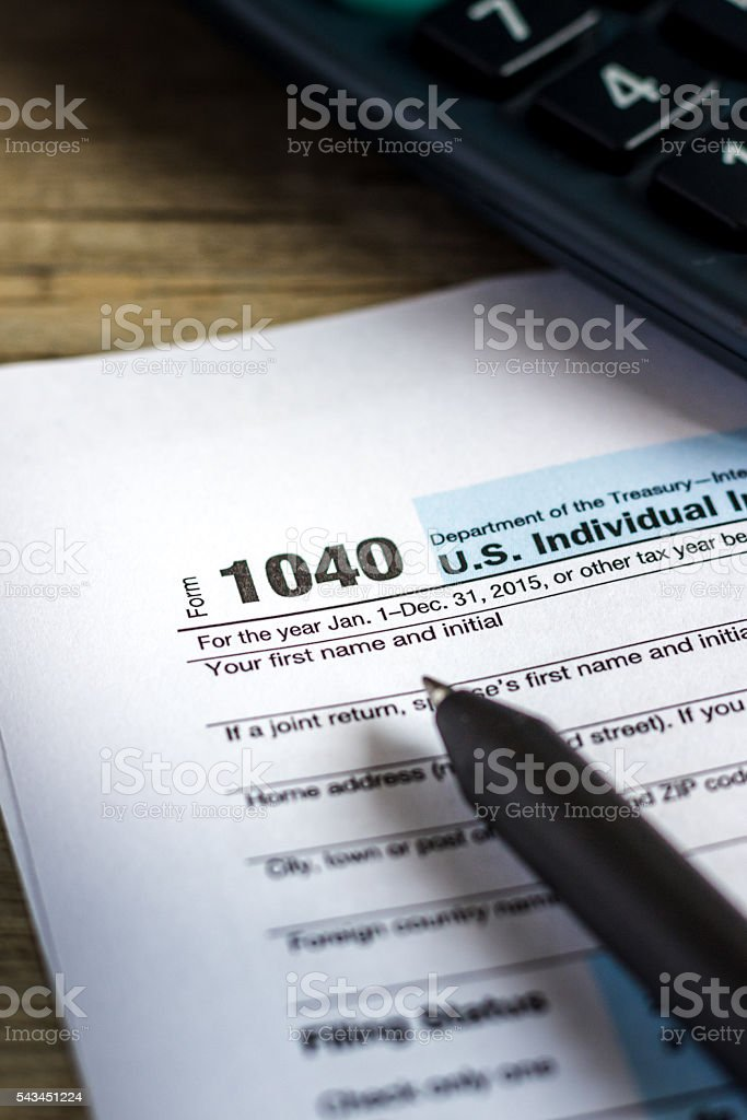fill in tax form stock photo