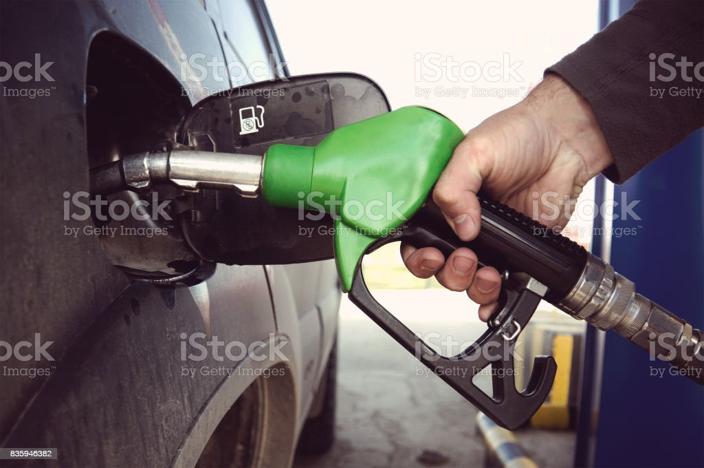 Fill up fuel at petrol station stock photo