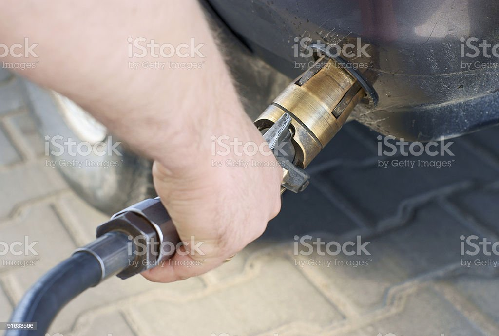 fill up of lpg stock photo