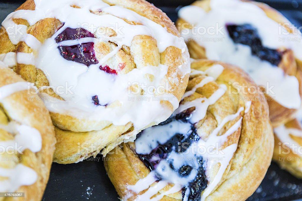 Filled danishes stock photo