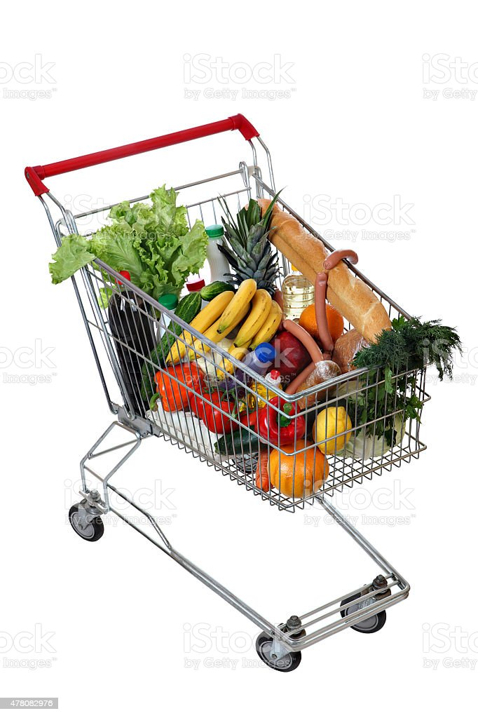 Filled foodstuffs shopping cart isolated on white background, no body stock photo