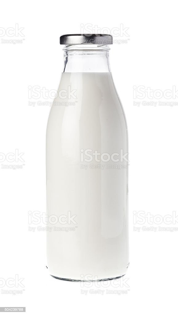 Filled milk bottle stock photo
