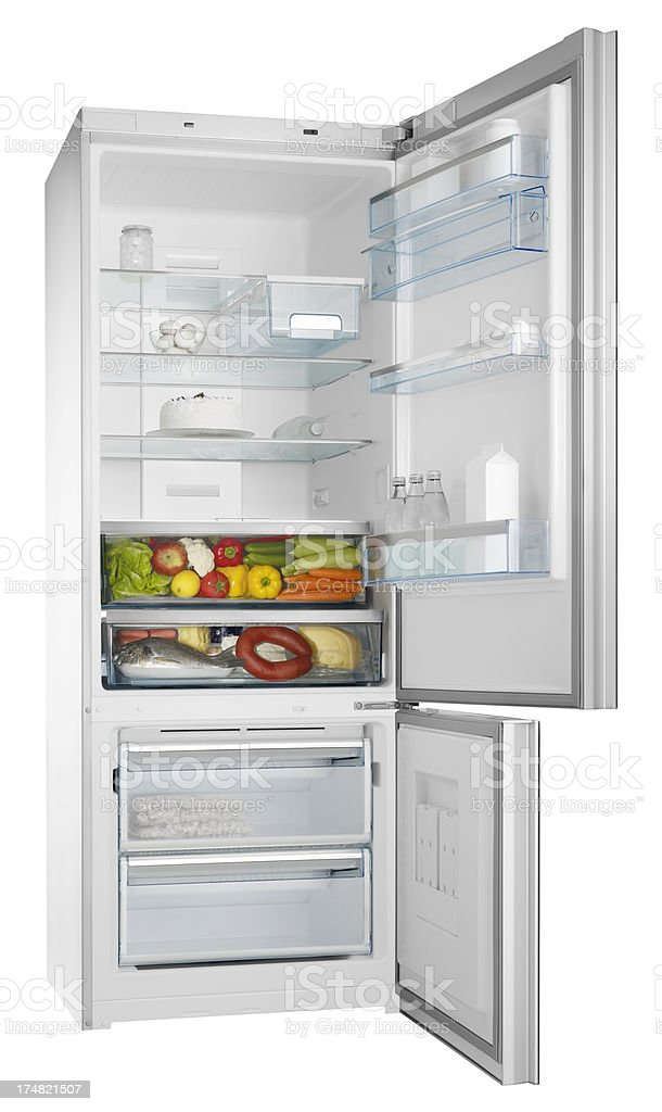 Filled refrigerator (isolated with clipping path over white background) stock photo