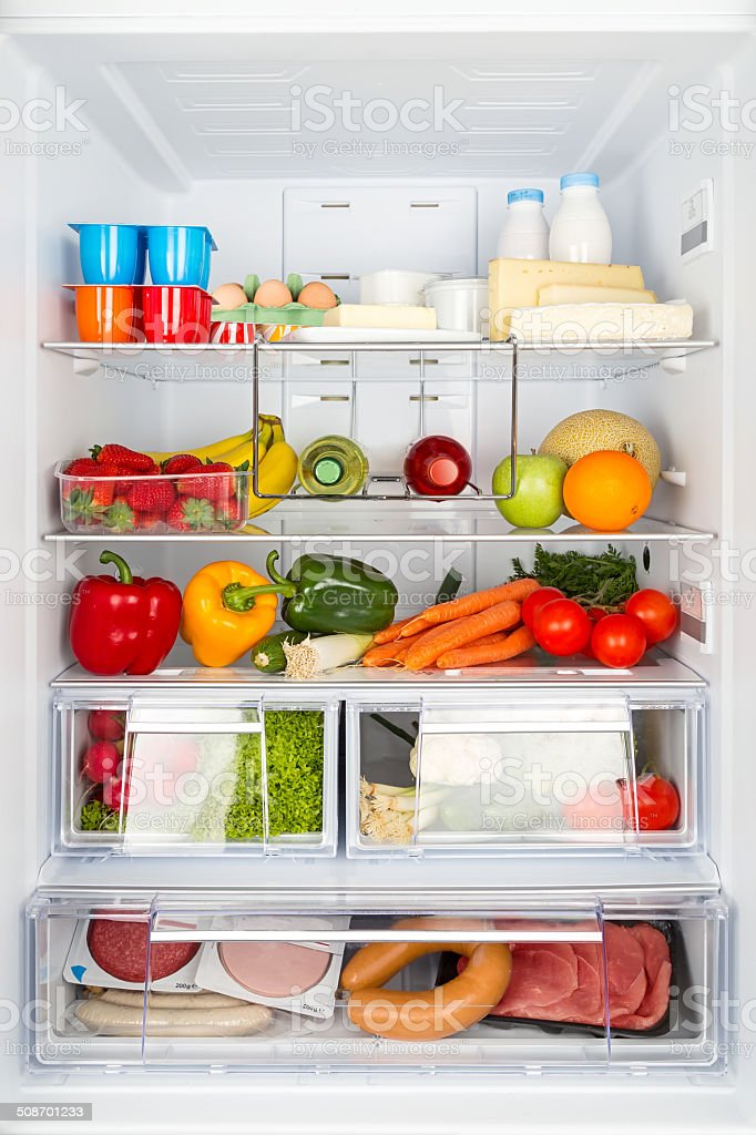 filled refrigerator stock photo