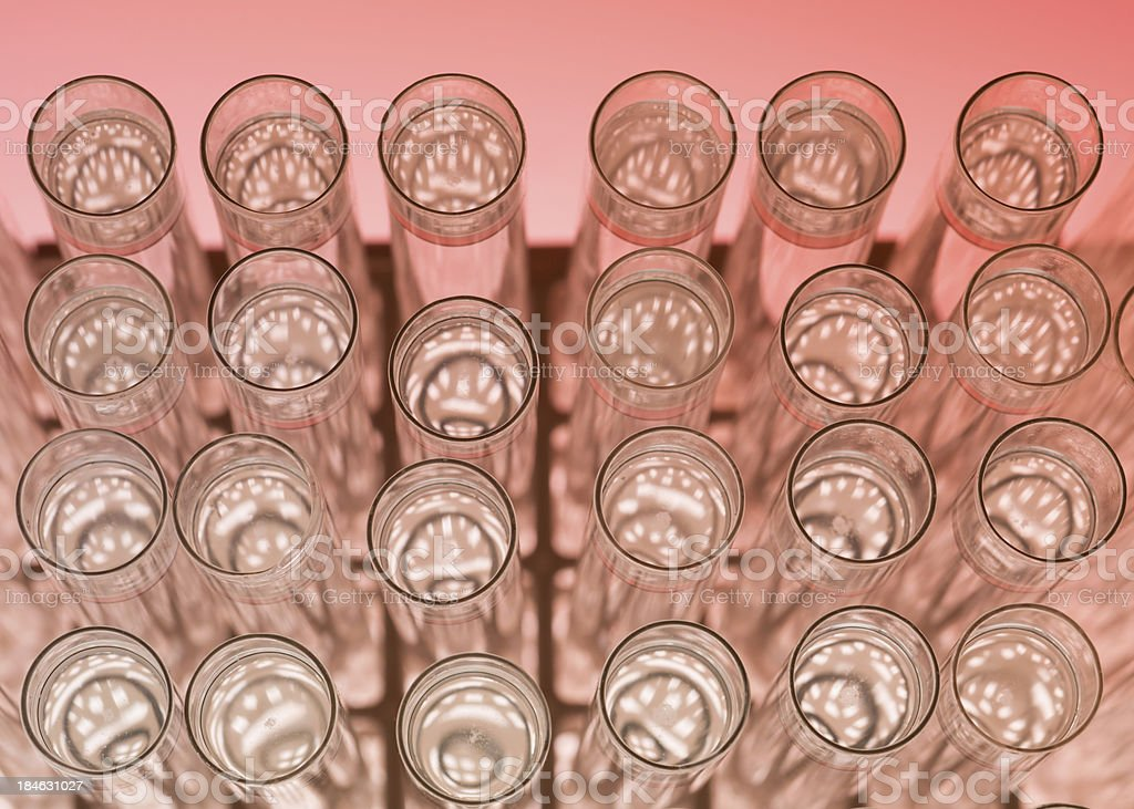 Filled test tubes on a stand stock photo