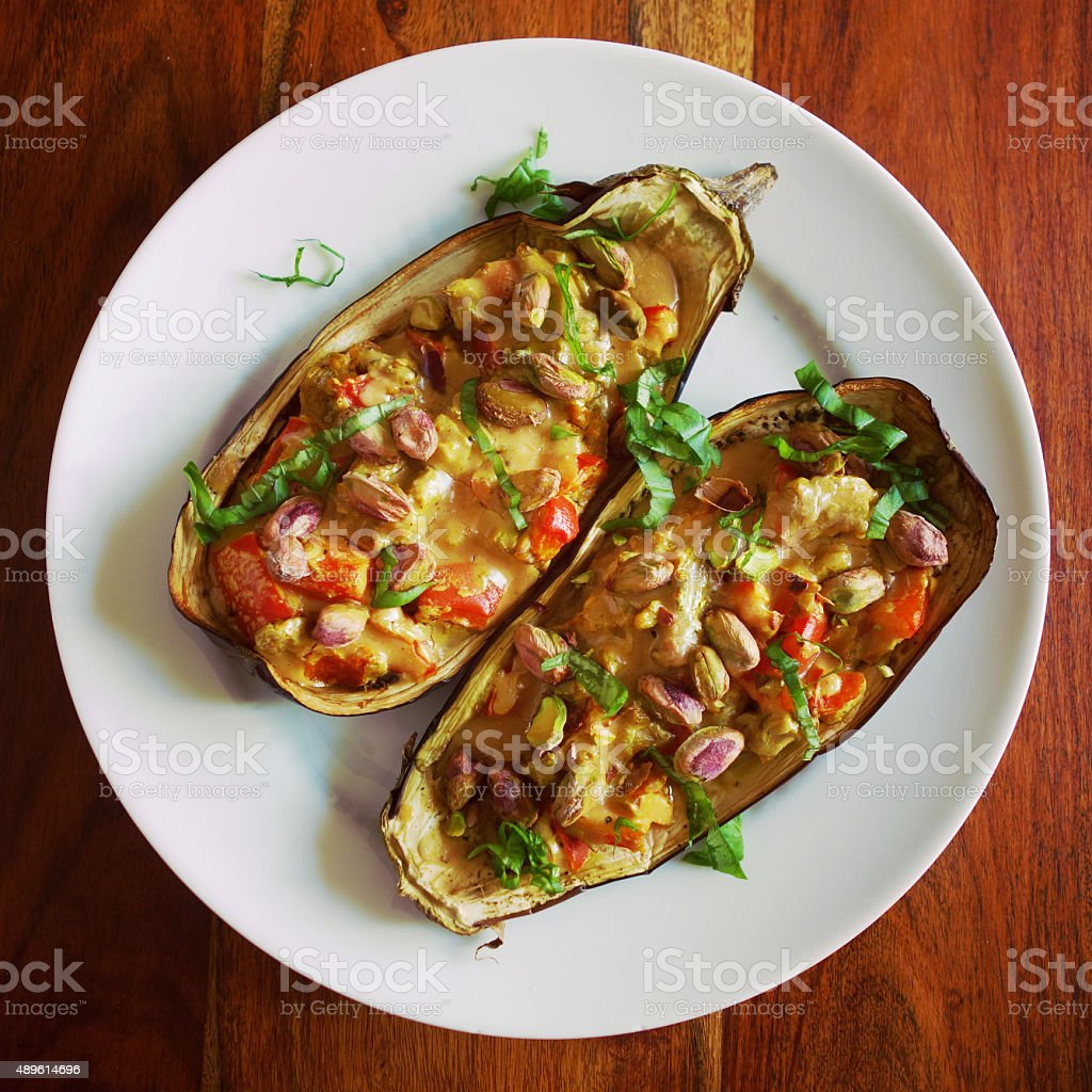 Filled vegan eggplant stock photo