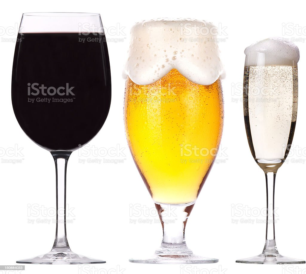 Filled wine, beer and champagne glasses on white background stock photo