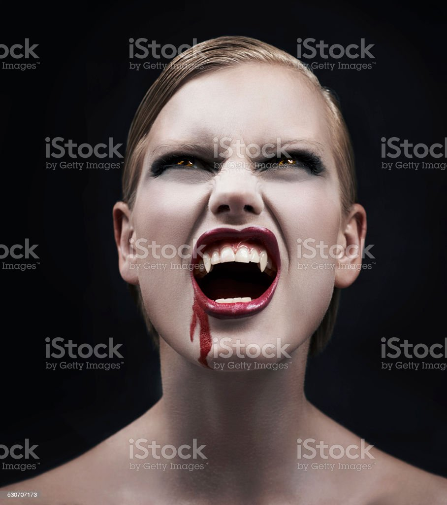 Filled with bloodlust stock photo