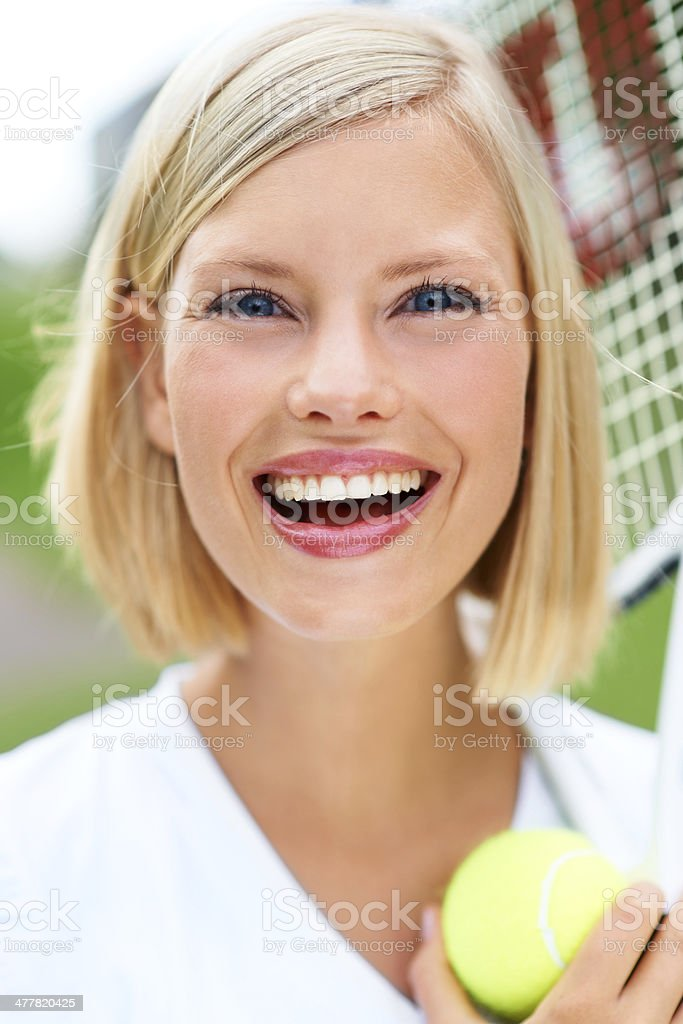 Filled with energy after a vigorous match royalty-free stock photo