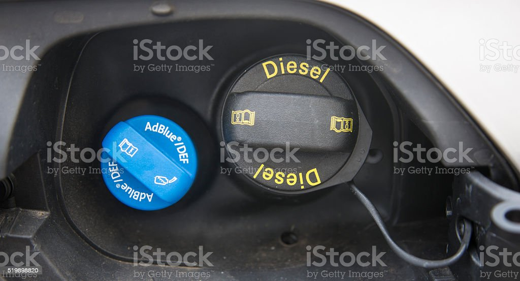 filler plugs Diesel and AdBlue of a diesel car stock photo