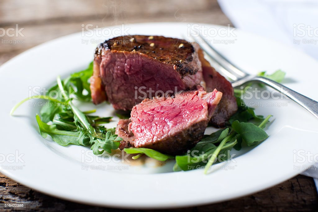 Fillet Mignon Beef Steak cooked rare stock photo