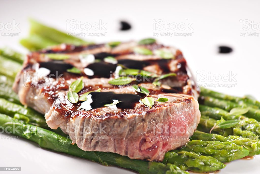 Fillet of beef with asparagus royalty-free stock photo