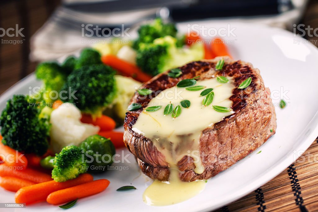 Fillet of beef with bearnaise sauce stock photo