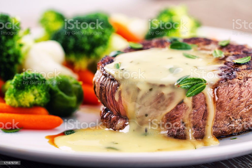Fillet of beef with bearnaise sauce. stock photo