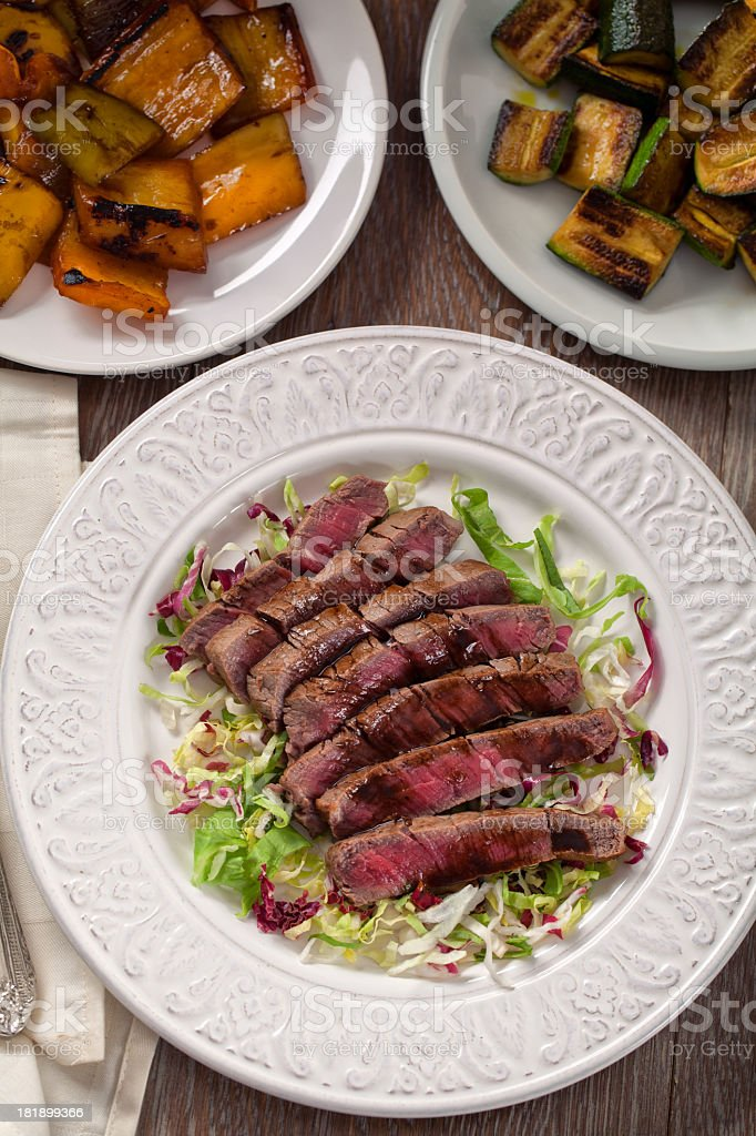 Fillet of beef with mixed salad. royalty-free stock photo