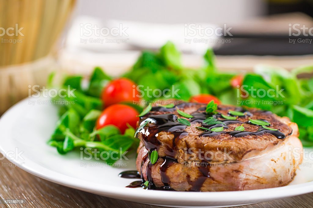 Fillet of beef with mixed salad. stock photo