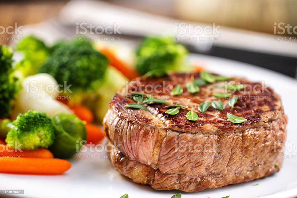 Fillet of beef with mixed vegetables royalty-free stock photo