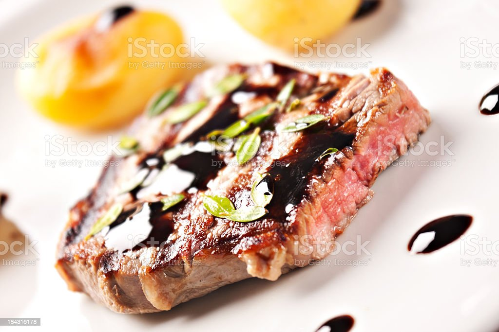 Fillet of beef with potatoes royalty-free stock photo