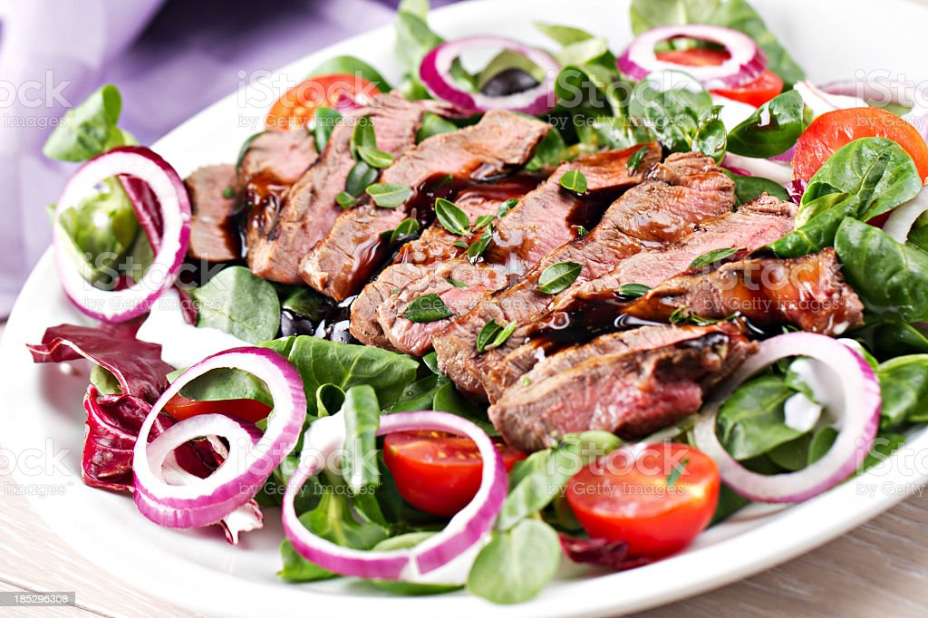Fillet of beef with salad royalty-free stock photo