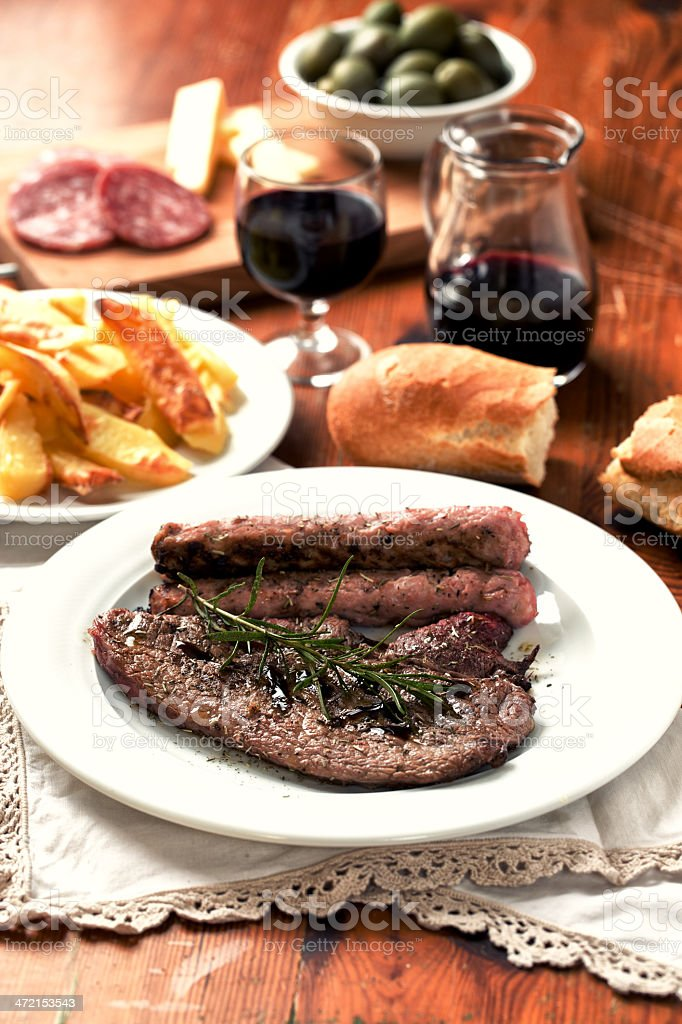 Fillet of beef with sausage stock photo