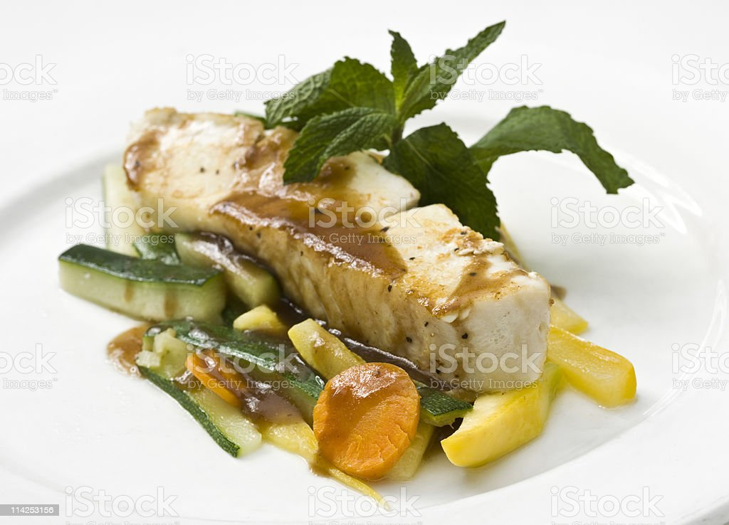 Fillet of Halibut stock photo